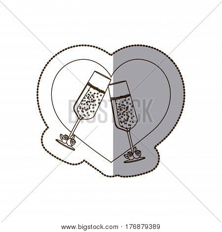 heart with glasses of champagne inside, vector illustration deign