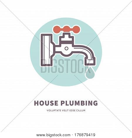House plumbing firm advertisement vector illustration. Water tap with drop in blue circle isolated on white background. House repair services promotion poster. Call master to fix water pipes.