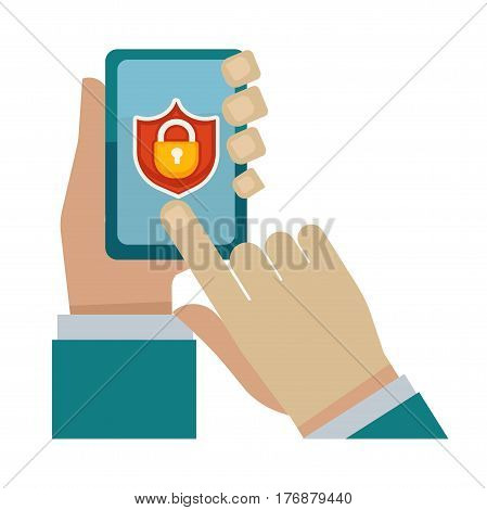 Security program for modern devices vector illustration. Male hands take gadget with lock on screen isolated on white background. Save phone from unwanted access and hide secret information.