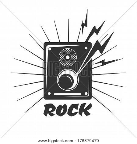Rock music loud speaker logo in black and white colors. Loudspeaker sign with symbols of music play. Vector illustration of silhouette of disco equipment, modern stereo system icon, sign of dynamic