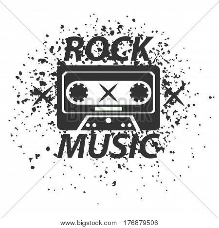 Rock music band black and white logotype. Classic old vintage cassette tape with sign on white background with dark blots. Music record emblem for single or album promotion vector illustration