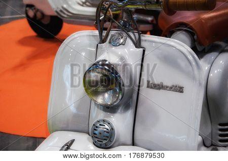 RIMINI , Italy - FEBRARY 12, 2017: Piaggio lambretta vintage sprint motor scooter motorbike motorcycle lambretta