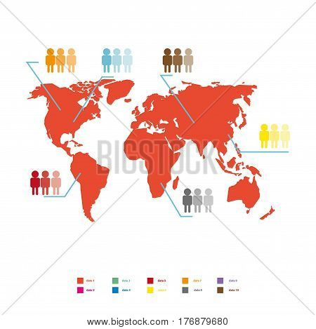 World population statistic vector illustration. Red global map with colored people icons that match certain data isolated on white background. Materials for presentations on humanity topics.