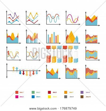 Infographic collection of rising and falling charts on white. Vector poster of colorful diagrams and graphs, explanation of colors below. Schemes set for marketing business promotional materials