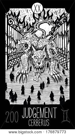Judgement. 20 Major Arcana Tarot Card. Cerberus. Fantasy engraved line art illustration. Engraved vector drawing. See all collection in my portfolio set