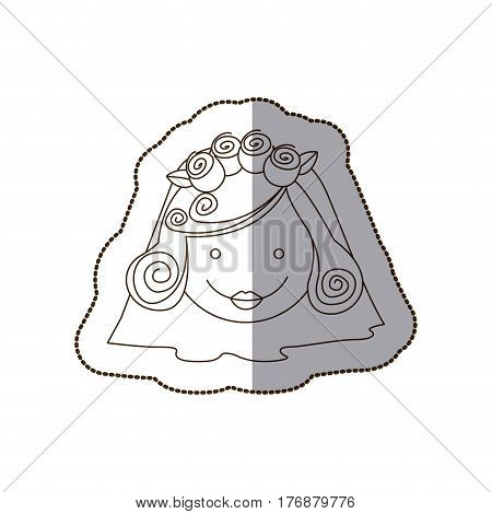 happy face bride with veil, vector illustration design