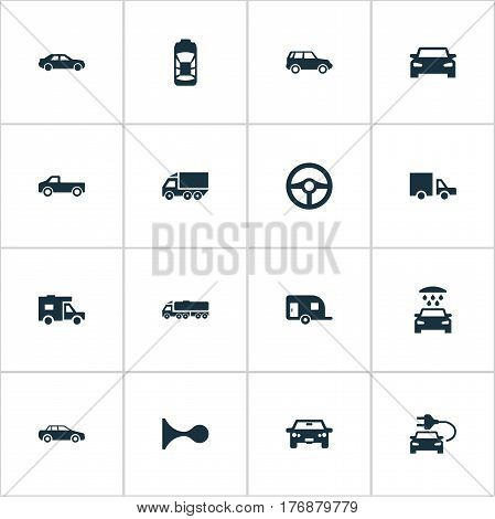 Vector Illustration Set Of Simple Automobile Icons. Elements Driving, Klaxon, Auto And Other Synonyms Van, Truck And Siren.