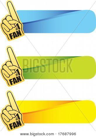 number one fan foam hand on colored tabs