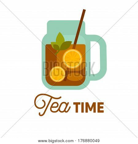 Tea Time. Cold drink with lemon and herbs in decanter with tube isolated on white background. Fresh citrus and herbal beverage vector illustration. Good means to quench thirst in hot summer day.