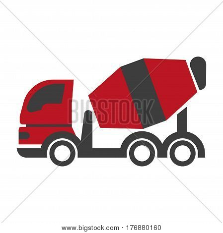 Bulk cement transport unit icon flat art design on white background. Construction machinery with black and red tank. Vector illustration of architectural engineering in cartoon style web banner.