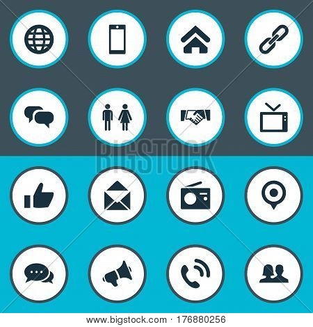Vector Illustration Set Of Simple Transmission Icons. Elements Handshake, Megaphone, Handset Synonyms Mail, Like And Telly.