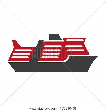 Red and black motor ship hand drawn art pattern isolated on white. Vector illustration of water transports. Considerable cruise boat close-up. Cartoon style web banner flat design pictogram.