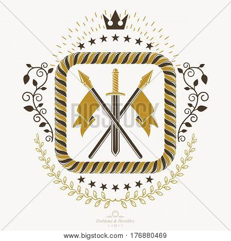 Heraldic coat of arms decorative emblem with royal crown and armory