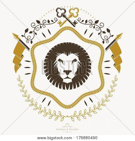 Heraldic coat of arms decorative emblem with lion head illustration