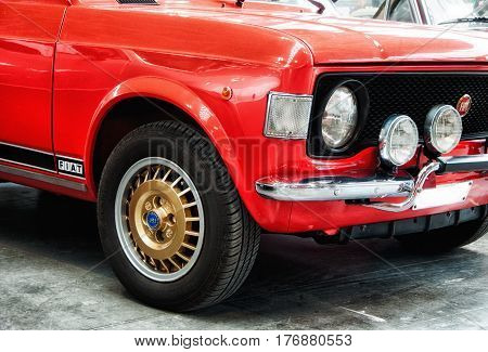 RIMINI , Italy - FEBRARY 12, 2017: fiat 128 rally color red vintage car