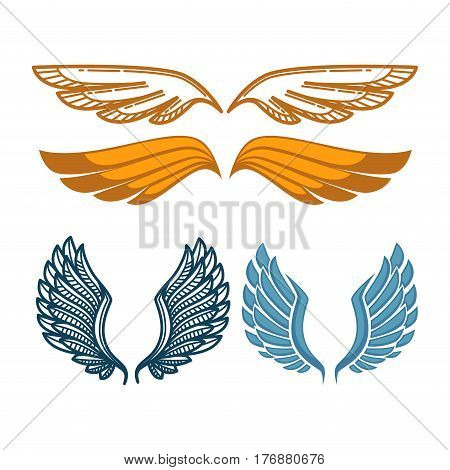 Angel gold and blue wings collection. Gorgeous wing isolated on white background. Vector illustration of sweeping and uplifts feather elements. Symbol of win, reliable protection and endless freedom.