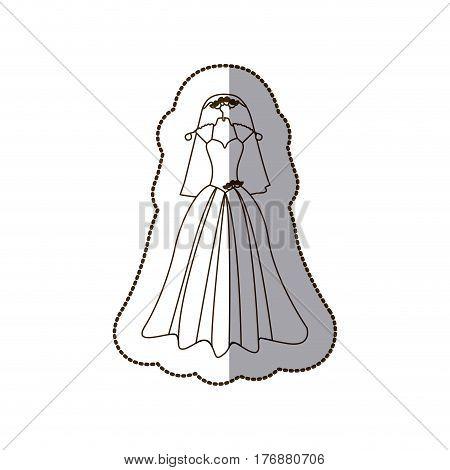 elegant bride dress with veil icon, vector illustration design