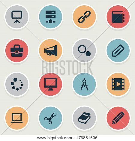 Vector Illustration Set Of Simple Icons Icons. Elements Pen, Circle Compass, Display And Other Synonyms Compass, Settings And Scissors.