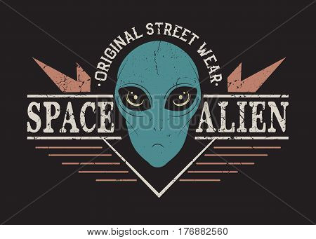 Space alien head.Prints design for t-shirt.Street style label