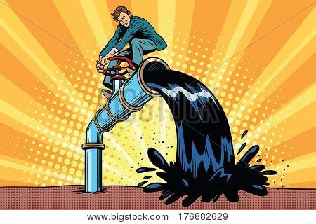 Oil is polluting, businessman on the tube. Pop art retro comic book vector illustration. Ecology and saving nature