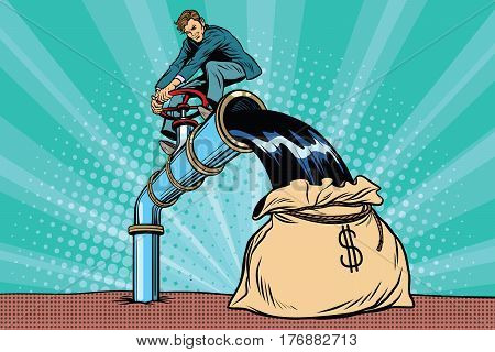 Retro businessman fills the oil in the bag of money. Pop art comic book vector illustration
