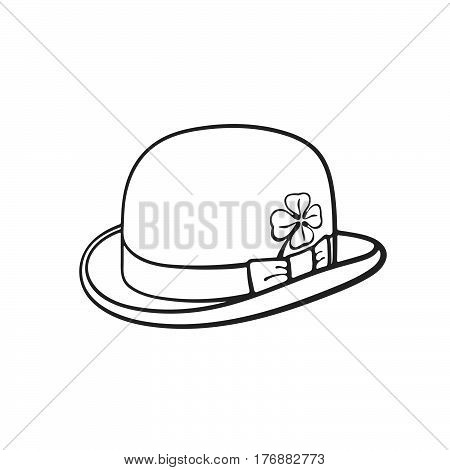 Vector illustration. Hand drawn doodle of bowler hat with clover. Saint Patrick's Day symbol. Cartoon sketch. Decoration for greeting cards posters emblems wallpapers