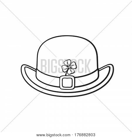 Vector illustration. Hand drawn doodle of view of bowler hat with buckle and clover. Saint Patrick's Day symbol. Cartoon sketch. Decoration for greeting cards posters emblems wallpapers