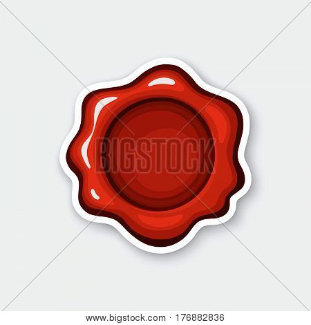 Vector illustration. Red wax seal. Mail security stamp. Sticker in cartoon style with contour. Decoration for greeting cards patches prints for clothes badges posters emblems