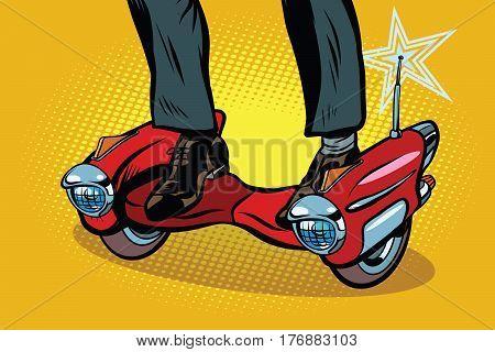 Futuristic steampunk scooter skateboard. Pop art retro comic book vector illustration
