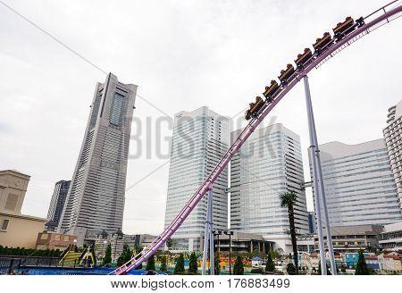 Roller Coaster In Amusement Park In Summer