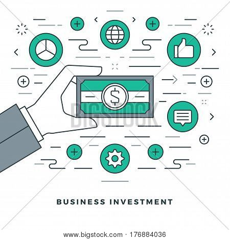 Flat line Business Management and Investment. Vector illustration. Modern thin linear stroke vector icons. For Website Graphics, Infographics Design, Promotional Materials.