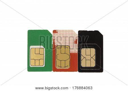 SIM card three on a white background.