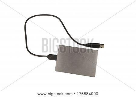 mobile hard disk on white background gray.