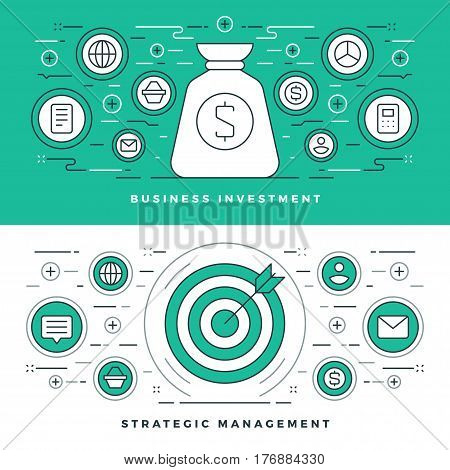 Flat line Strategic Management and Investment. Vector illustration. Modern thin linear stroke vector icons. For Website Graphics, Infographics Design, Promotional Materials.