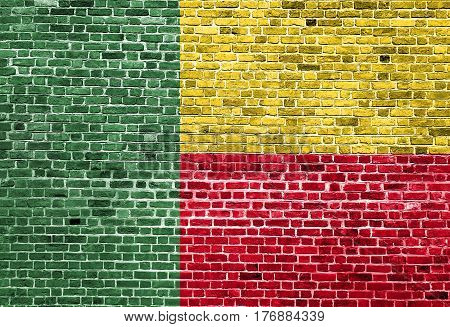 Flag of Bosnia painted on brick wall, background texture