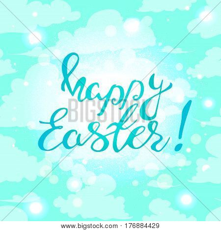 Easter banner with text happy Easter .Vector illustration background. Easter background. Hand drawn text. Easter christian motive. Hand written calligraphy.Eps10