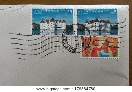 Mail Envelope With Cancelled Stamps From German