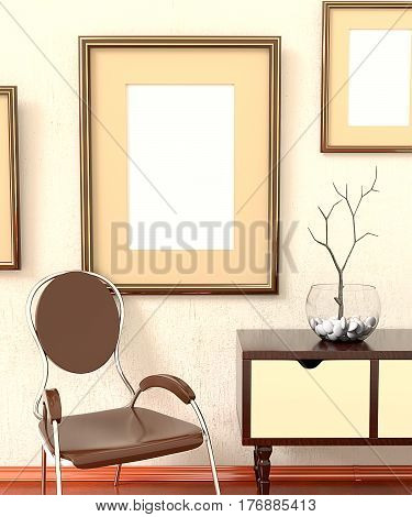 Mocap home retro interiors. Room with furniture empty picture plastered on the wall dresser chair and the tree in a vase. 3d rendering.