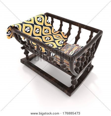 Children old wooden cradle on white background. Bright baby blanket a mattress and a pillow with a traditional African pattern. 3D-rendering.