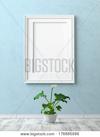 Mock up interior. Painting with a blank canvas on the blue stucco wall. Grey laminate and calla flower in a pot. 3d rendering