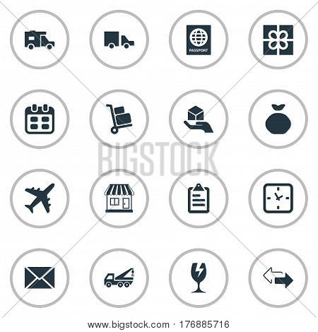 Vector Illustration Set Of Simple Handing Icons. Elements Holdall, Caravan, Gift And Other Synonyms Gift, Envelope And Passport.