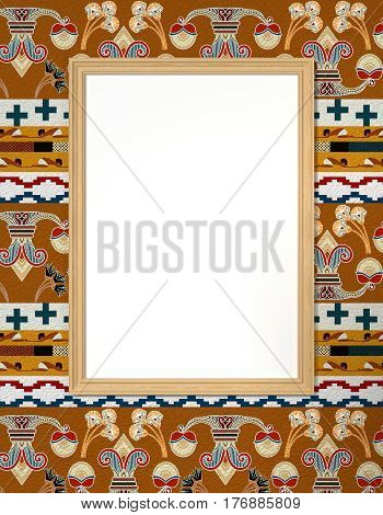 Bright frame with a blank canvas in bright ethnic background with floral ornament. Tribal background. 3d rendering.