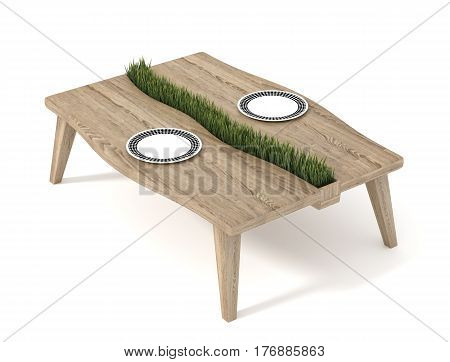 Wooden table with green grass and plate isolated on white background. 3d rendering.