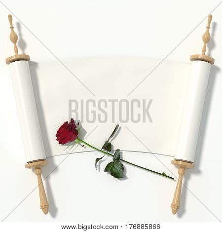 Scroll to the white paper on wooden rollers and a red rose isolated on white background. 3d rendering.