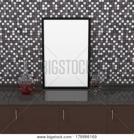 3D rendering: illustration of an empty kitchen table with a clean frame Carafe wine glass on a mosaic wall background