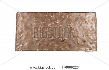 chocolate with nuts on white background food.