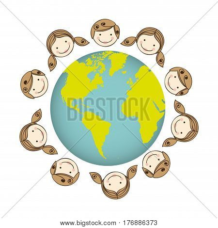 boys and girls arround the earth planet, vector illustration design