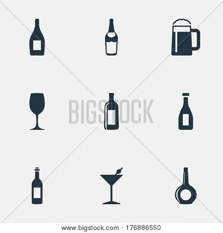 Vector Illustration Set Of Simple Beverage Icons. Elements Champagne, Ketchup, Glassware And Other Synonyms Pint, Wine And Liquor.