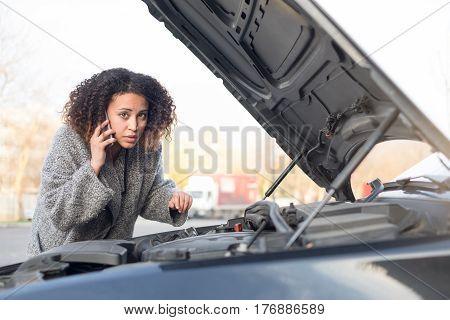 Desperate Woman Calling Emergency Help Smartphone