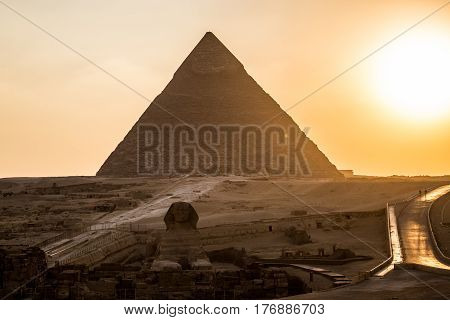 A Pyramid and sphinx in Giza Egypt